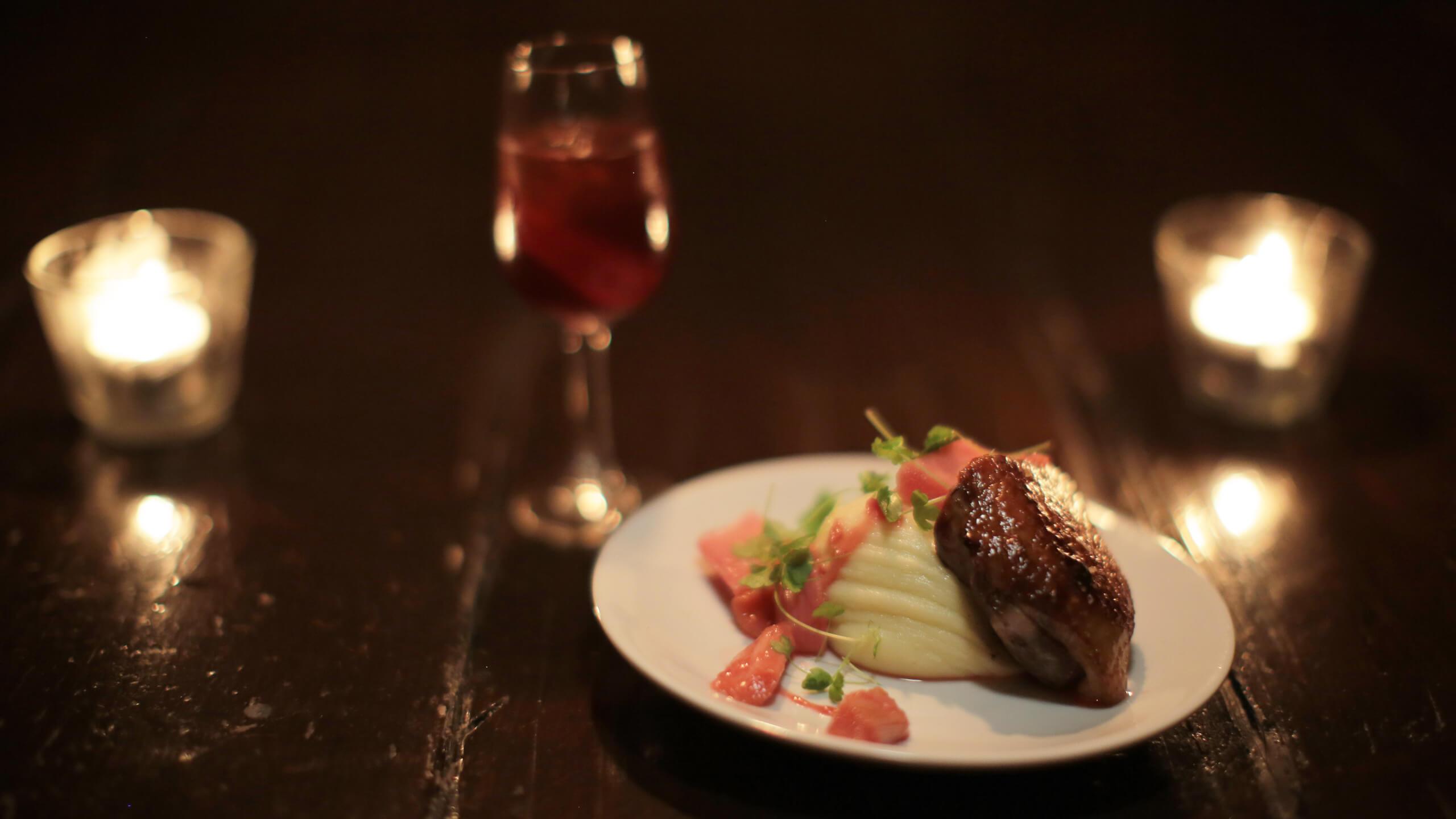 Romeo and julieta smoked duck breast, sherry pickeld rhubarb and walnut mash