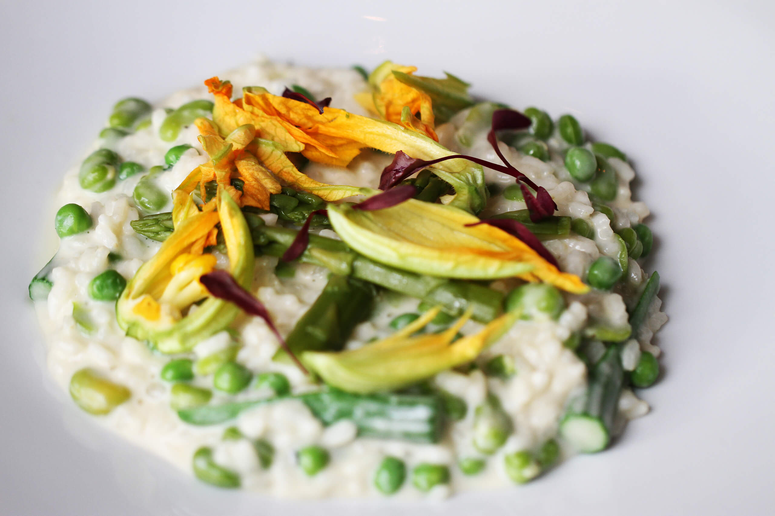Courgette flower & summer vegetable risotto, eat flowers, flower, floral, chelsea flower show, chelsea, beautiful, summer, health, healthy, plate, seasonal, fresh, yummy, beautiful, stunning, creative, chef, cook