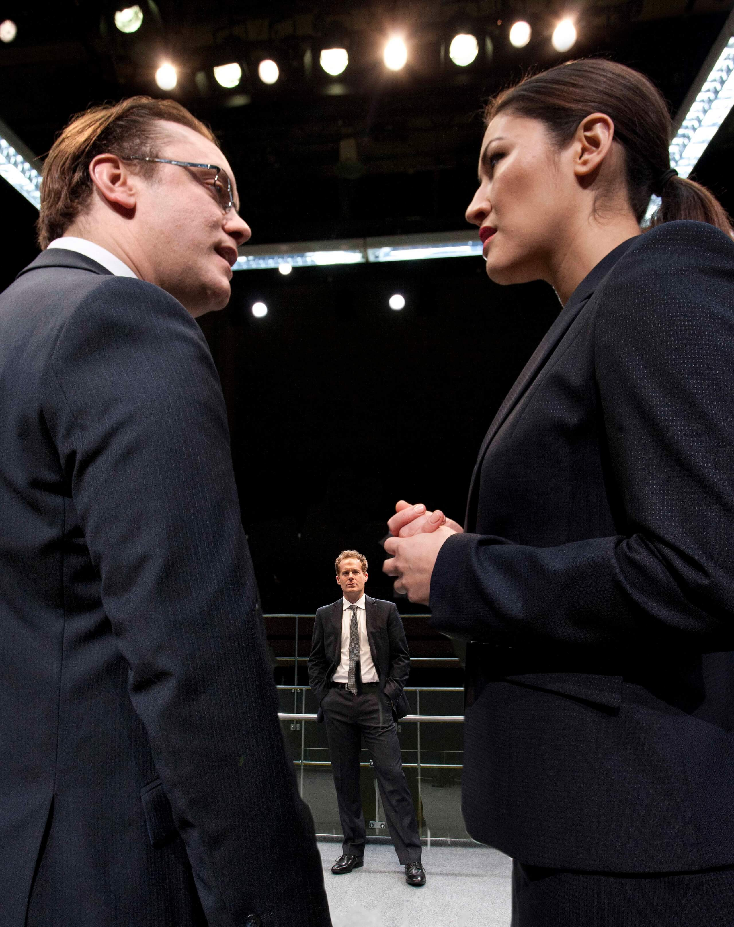 Sam Troughton, Adam James, Eleanor Matsuura in Bull at the Young Vic. Photo by Simon Annand