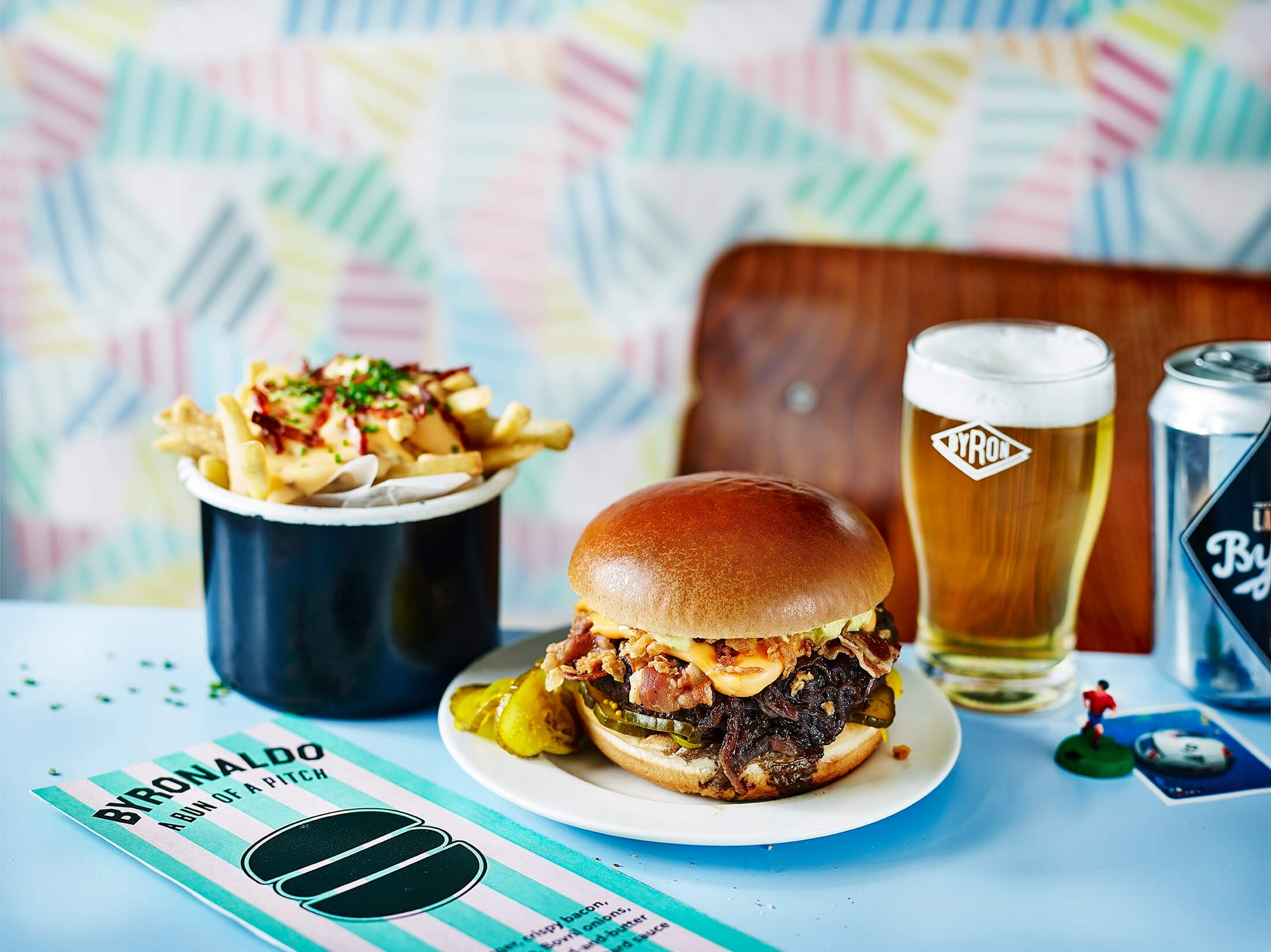 Byronaldo and fries and beer background 1