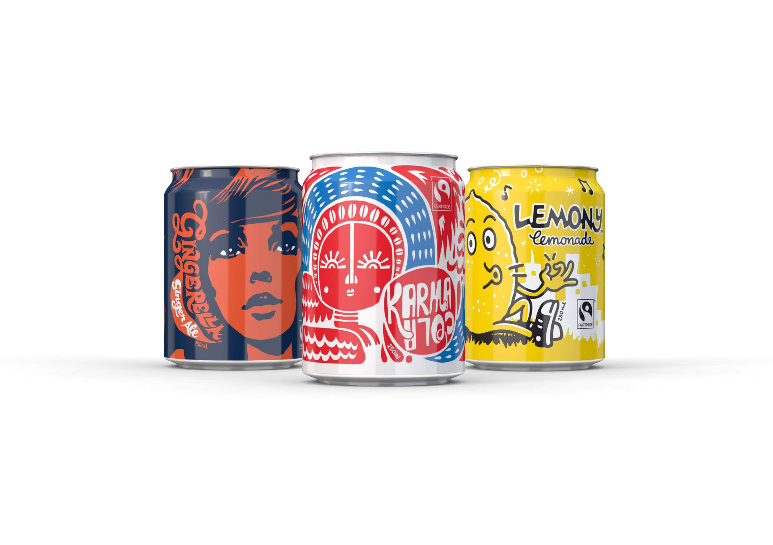 Karma Cola and Friends cans