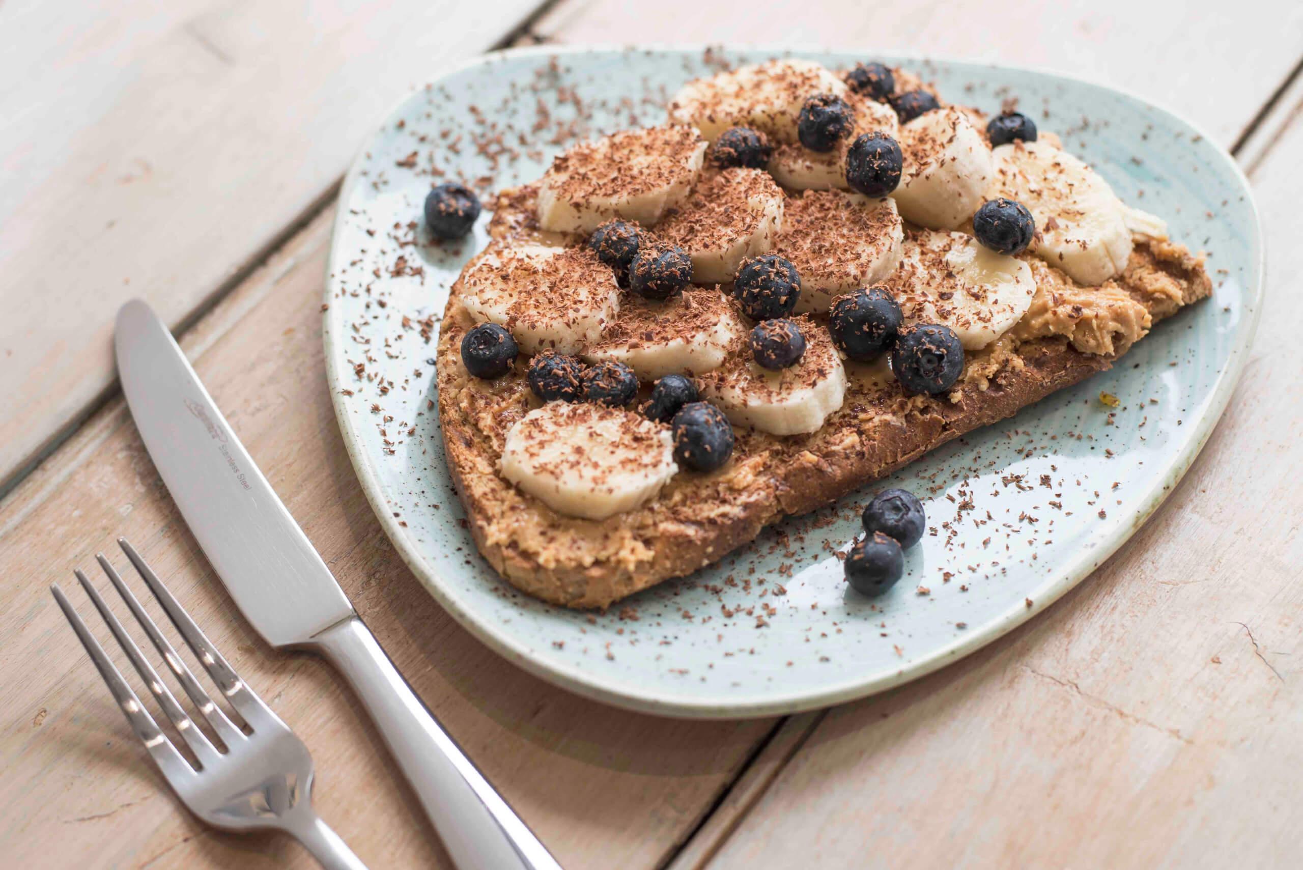 Photo 5 (credit Kirsty Owen) - Jaz & Jul's weekday breakfast toast cocoa shavings banana peanut butter blueberries-3